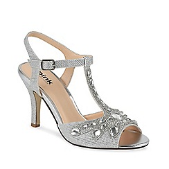 Pink by Paradox London - Glitter 'morgan' mid heel stiletto t-bar sandals