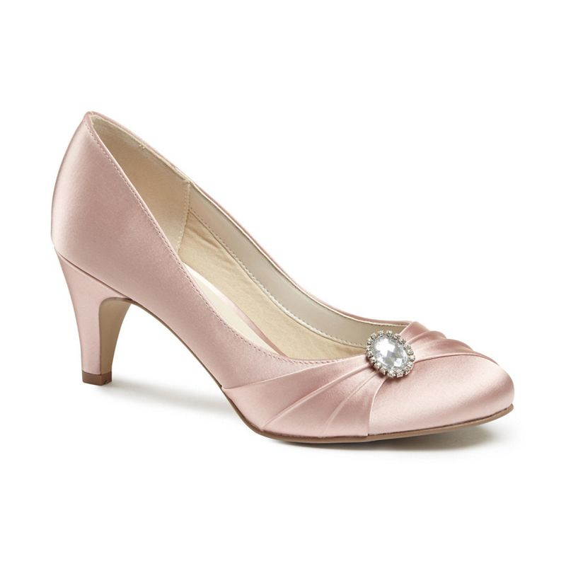Pink by Paradox London Satin harmony mid kitten heel court
