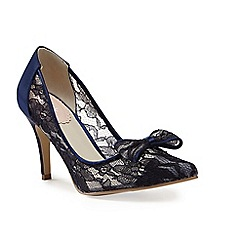 Pink by Paradox London - Navy Lace bow 'Promise' court shoe