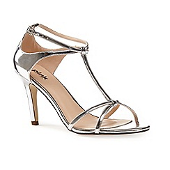 Pink by Paradox London - Silver Strappy T-bar 'Peyton' sandal