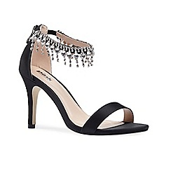 Pink by Paradox London - Black diamante anklet Tamara sandals