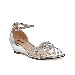 Pink by Paradox London - Silver Strappy glitter 'Avery' wedge sandal
