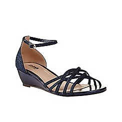 Pink by Paradox London - Navy Strappy glitter 'Avery' wedge sandal