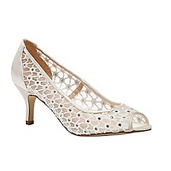 Pink by Paradox London - Ivory Diamante mesh 'Breeze' peep toe court