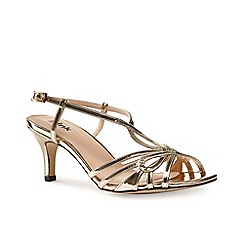 Pink by Paradox London - Gold strappy t-bar 'Trinity' sandal