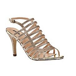Pink by Paradox London - Gold caged heeled 'Skylar' sandal