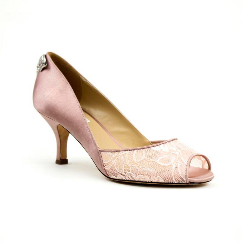 Benjamin Adams Lace caity mid kitten heel peep toe shoes