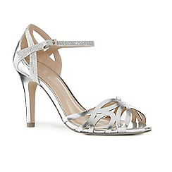 Pink by Paradox London - Silver metallic 'Monica' high stiletto heel ankle strap sandals