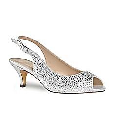 Pink by Paradox London - Silver diamante 'Celeste' mid heel wide fit slingbacks