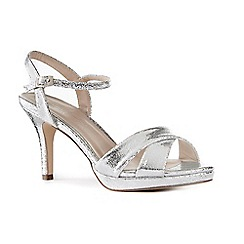 Pink by Paradox London - Silver glitter 'Chelsee' high heel stiletto ankle strap sandals