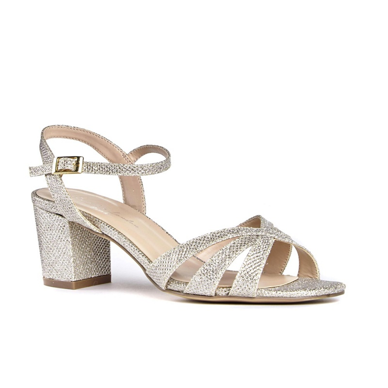 2acd466eaf34 Womens Pink by Paradox London Gold glitter 'Colette' mid heel wide fit  ankle strap sandals, Women's - £55.00 - Bullring & Grand Central