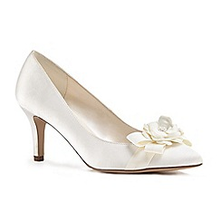 Pink by Paradox London - Ivory satin 'Adaline' mid heel stiletto court shoes