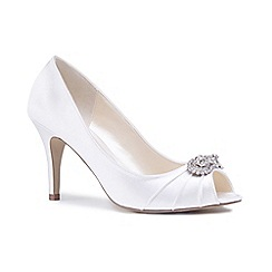 Pink by Paradox London - Ivory satin 'Cassiana' high heel stiletto peep toe shoes