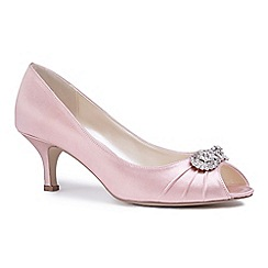 Pink by Paradox London - Pink satin 'Charlene' mid heel stiletto peep toe shoes