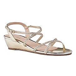 Pink by Paradox London - Gold 'Kadie' mid heel wedge ankle strap sandals