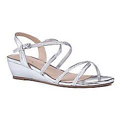 Pink by Paradox London - Silver 'Kadie' mid heel wedge ankle strap sandals