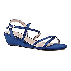 Pink by Paradox London - Blue 'Kadie' mid heel wedge ankle strap sandals