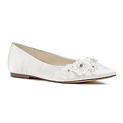 Pink by Paradox London - Ivory satin 'Lauretta' flat pumps