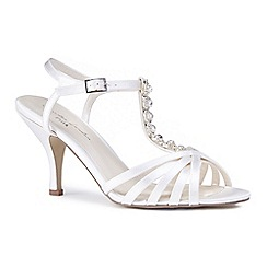 Pink by Paradox London - Ivory satin 'Melinda' mid heel stiletto t-bar sandals