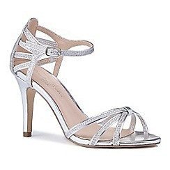 Pink by Paradox London - Silver glitter 'Mystique' high heel stiletto ankle strap sandals
