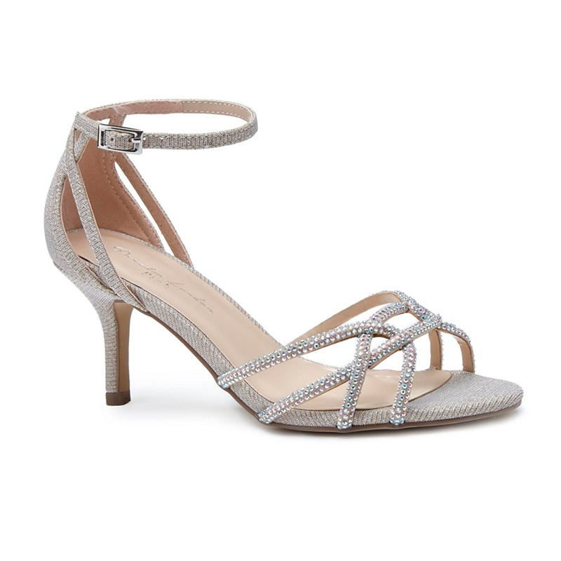 Pink by Paradox London Gold glitter 'Majesty' mid heel stiletto ankle strap sandals