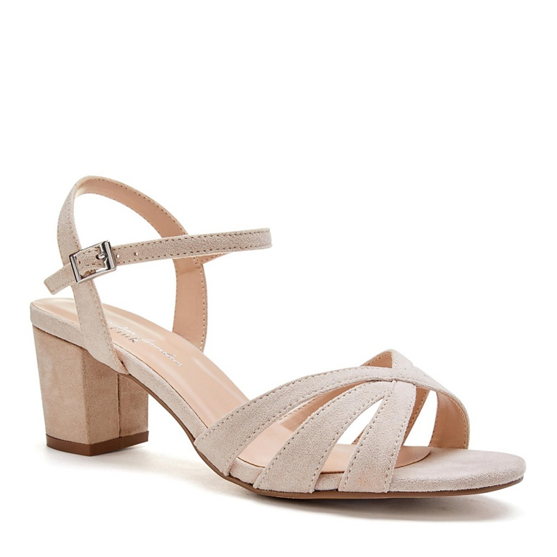 24f181c66162 Pink by Paradox London - Cream  Camille  Mid Heel Wide Fit Ankle Strap  Sandals