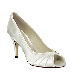 Pink by Paradox London - Ivory satin 'Crush' high heel peep toe shoe