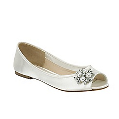 Pink by Paradox London - Ivory satin 'Flower' peep toe flat shoe