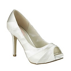 Pink by Paradox London - Ivory satin 'Pretty' peep toe platform shoe