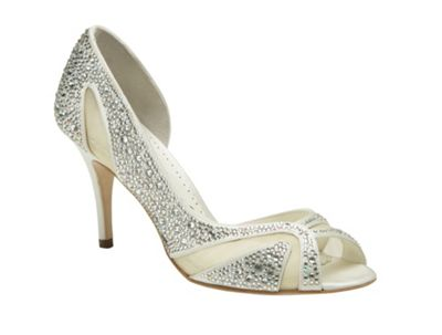Benjamin Adams Ivory silk catherine crystal peep toe shoe - . -