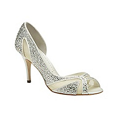 Benjamin Adams - Ivory silk 'Catherine' crystal peep toe shoe