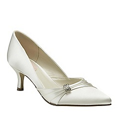 Pink by Paradox London - Ivory satin 'Beau' mid heel court shoe