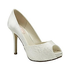 Pink by Paradox London - Ivory satin & lace 'Fancy' peep toe platform shoe