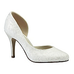 Pink by Paradox London - Ivory satin & lace 'Cathy' high heel shoe