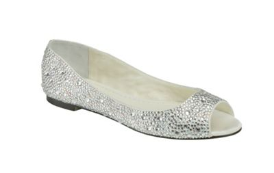 Benjamin Adams Ivory silk and crystal halle peep toe flat - . -