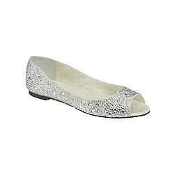 Benjamin Adams - Ivory silk and crystal 'Halle' peep toe flat