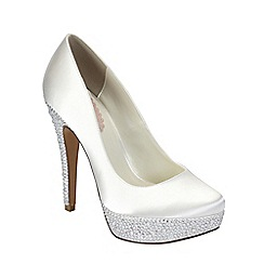 Pink by Paradox London - Ivory satin 'Bedazzle' round toe platform shoe