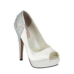 Pink by Paradox London - Ivory satin 'Starry' peep toe platform shoe
