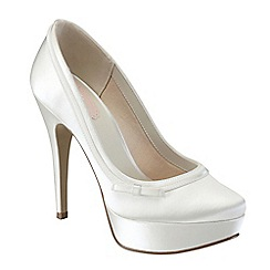 Pink by Paradox London - Ivory satin 'Caprice' round toe platform shoe