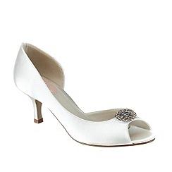 Pink by Paradox London - Ivory satin 'Cinnamon' low heel peep toe shoe