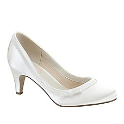 Pink by Paradox London - Ivory satin 'Dahlia' round toe court shoe