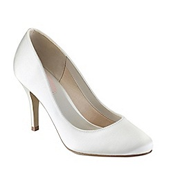 Pink by Paradox London - Ivory satin 'Magnolia' round toe court shoe