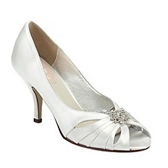 Pink by Paradox London - Ivory satin 'Moon' peep toe shoe