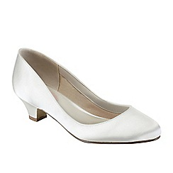 Pink by Paradox London - Ivory satin 'Rosemary' low heel court shoe