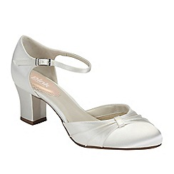 Pink by Paradox London - Ivory satin 'Maple' mid heel shoe