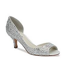 Benjamin Adams - Ivory silk 'Divine' low heel peep toe