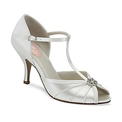 Pink by Paradox London - Ivory satin 'Perfume' peep toe tbar shoe