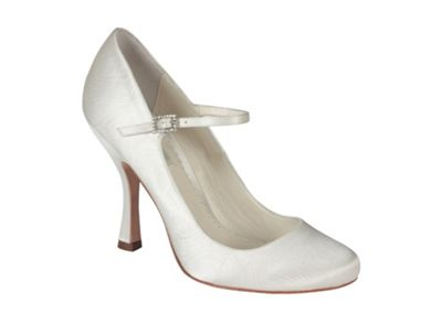 Benjamin Adams Ivory silk minnie round toe mary jane - . -
