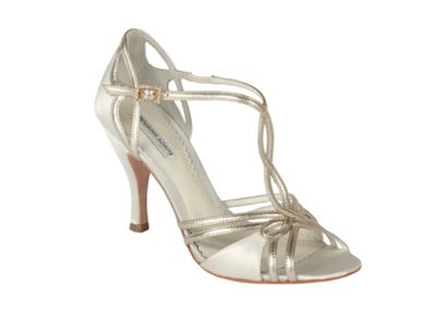 Benjamin Adams Ivory satin and gold leather preston sandal - . -
