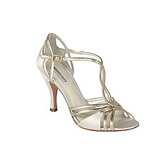 Benjamin Adams - Ivory satin and gold leather 'Preston' sandal